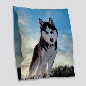 Husky Dog Outdoors Burlap Throw Pillow