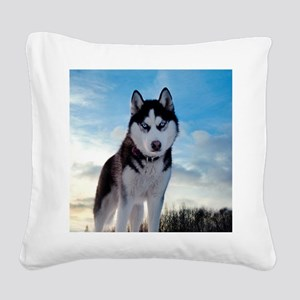 Husky Dog Outdoors Square Canvas Pillow