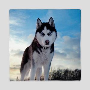 Husky Dog Outdoors Queen Duvet