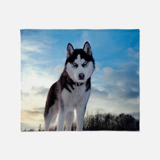 Husky Dog Outdoors Throw Blanket
