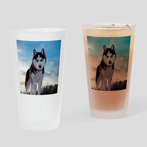 Husky Dog Outdoors Drinking Glass