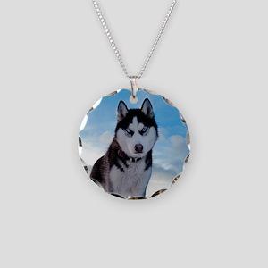 Husky Dog Outdoors Necklace Circle Charm