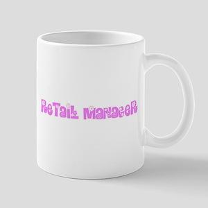 Retail Manager Pink Flower Design Mugs