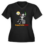 HalloWINO Women's Plus Size V-Neck Dark T-Shirt