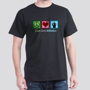 Peace Love Meditation Dark T-Shirt