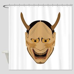 Japanese Kishin Mask Shower Curtain