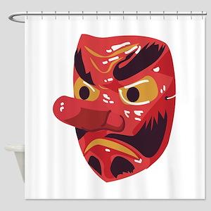 Japanese Tengu Mask Shower Curtain