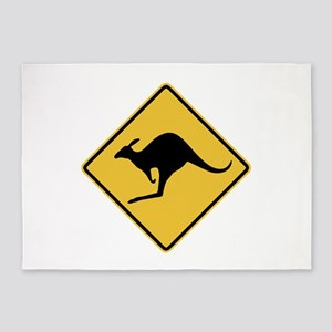 Kangaroo Sign 5'x7'Area Rug