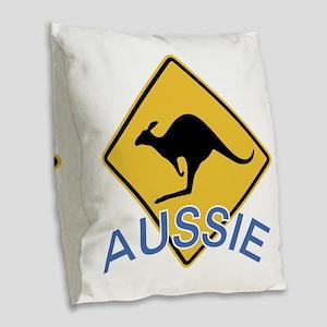 Aussie Kangaroo Burlap Throw Pillow