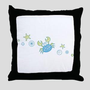 Pale Blue Crab Throw Pillow