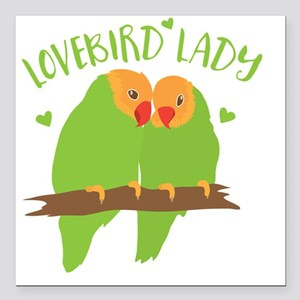 "Lovebird Lady Square Car Magnet 3"" x 3"""