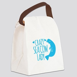 Crazy SEA COW LADY (manatee) Canvas Lunch Bag