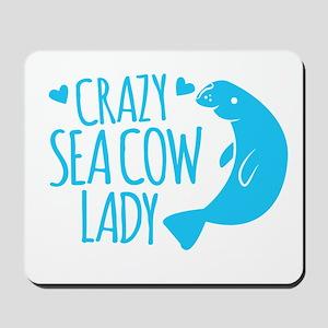 Crazy SEA COW LADY (manatee) Mousepad