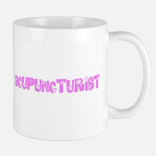 Acupuncturist Pink Flower Design Mugs