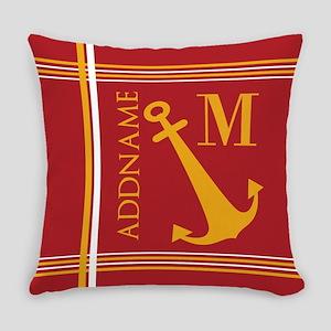 Red Yellow Nautical Anchor Monogra Everyday Pillow