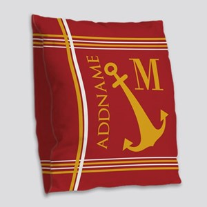 Red Yellow Nautical Anchor Mon Burlap Throw Pillow