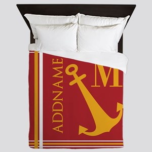 Red Yellow Nautical Anchor Monogram Queen Duvet