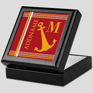 Red Yellow Nautical Anchor Monogram Keepsake Box