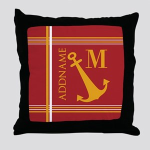 Red Yellow Nautical Anchor Monogram Throw Pillow