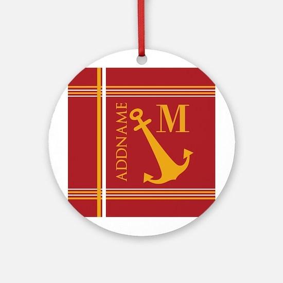 Red Yellow Nautical Anchor Monogram Round Ornament