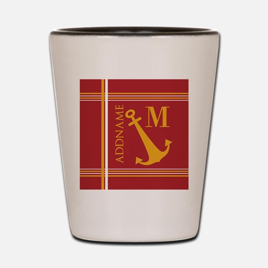Red Yellow Nautical Anchor Monogram Shot Glass