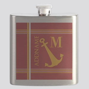 Red Yellow Nautical Anchor Monogram Flask