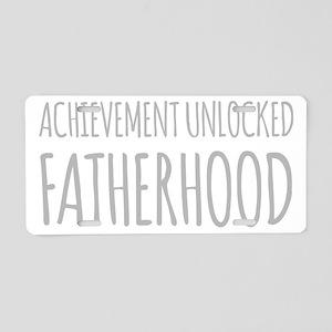 Achievement Unlocked Fatherhood Aluminum License P