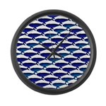 Bowhead Whale Pattern Large Wall Clock