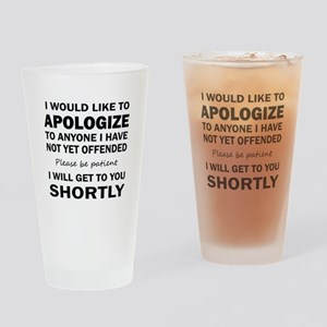 APOLOGIZE Drinking Glass
