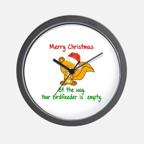 MERRY CHRISTMAS SQUIRREL - YOUR BIRDFEE Wall Clock