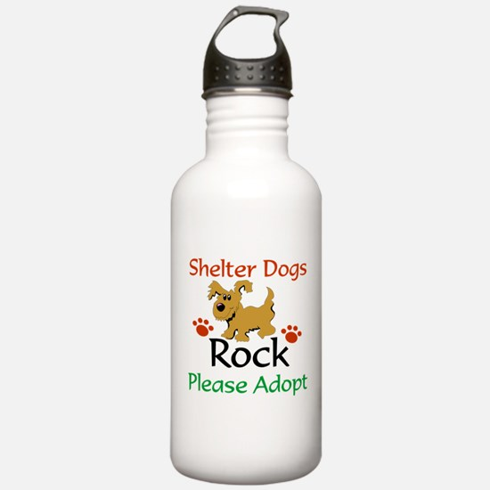 Shelter Dogs Rock Please Adopt Water Bottle
