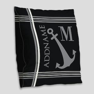 Gray Nautical Anchor Monogram Burlap Throw Pillow