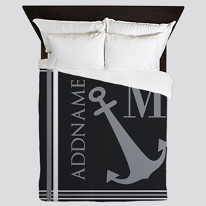 Gray Nautical Anchor Monogram Queen Duvet
