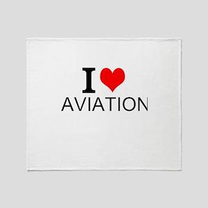 I Love Aviation Throw Blanket