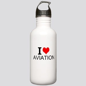 I Love Aviation Water Bottle