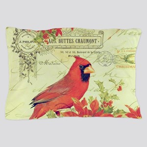Vintage Christmas Cardinal Pillow Case