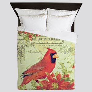 Vintage Christmas Cardinal Queen Duvet