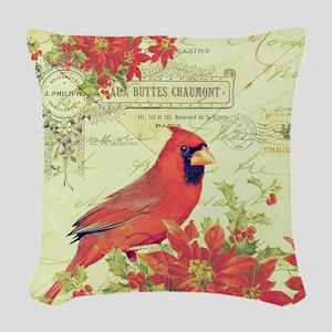 Vintage Christmas Cardinal Woven Throw Pillow