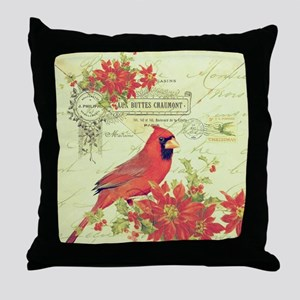 Vintage Christmas Cardinal Throw Pillow