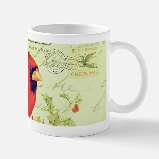 Vintage Christmas Cardinal Mugs