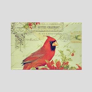 Vintage Christmas Cardinal Magnets
