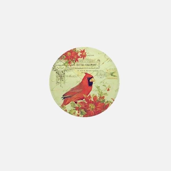 Vintage Christmas Cardinal Mini Button