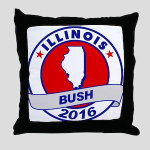 Illinois Jeb Bush 2016 Throw Pillow