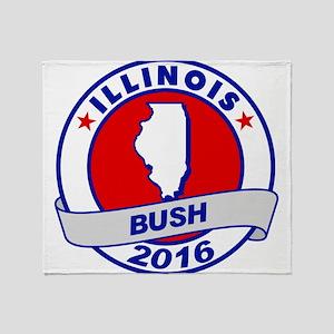 Illinois Jeb Bush 2016 Throw Blanket