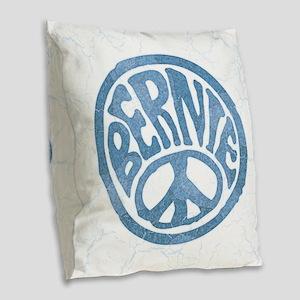 60s Peace Bernie Burlap Throw Pillow