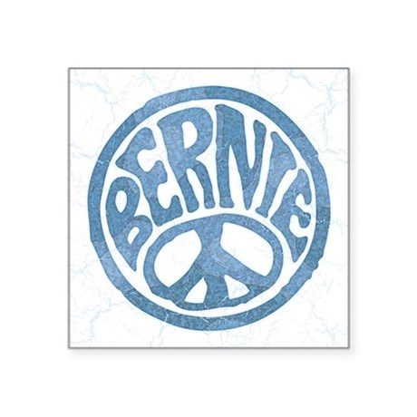 "60s Peace Bernie Square Sticker 3"" x 3"""