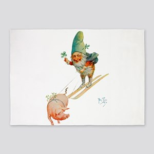 Gnome Skiing with a Pig 5'x7'Area Rug