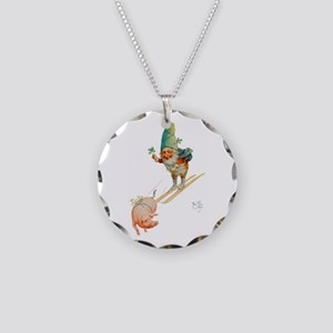 Gnome Skiing with a Pig Necklace Circle Charm