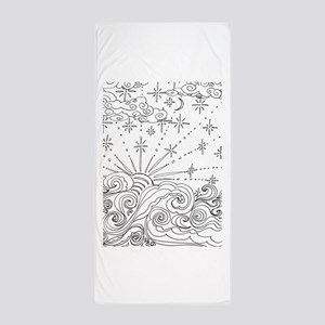 color me * swirly clouds Beach Towel