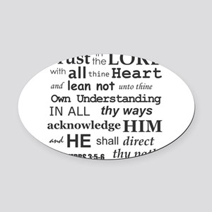 Proverbs 3:5-6 KJV Dark Gray Print Oval Car Magnet